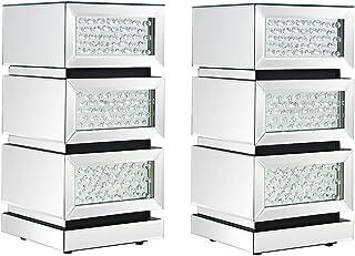 Lot de 2 Tables de Chevets Miroir en Cristal Verre Meuble de Rangement, 3 Tiroirs sur Salon, Chambre, Bureau, 30 x 30 x 60 cm