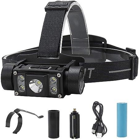 Luz Frontal Súper Brillante, Linterna Cabeza con 5 Cuentas de Lámpara, 6 Modos, Linterna Frontal LED Recargable para Cámping, Escalada, Ciclismo y ...