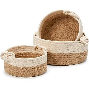 EZOWare Set de 3 Cestas Decorativas de Cuerda de Algodón Natural, Cesta Organizador de Almacenaje Ideal para Pequeños Cosas en el Hogar - Marrón/Beige: Amazon.es: Hogar