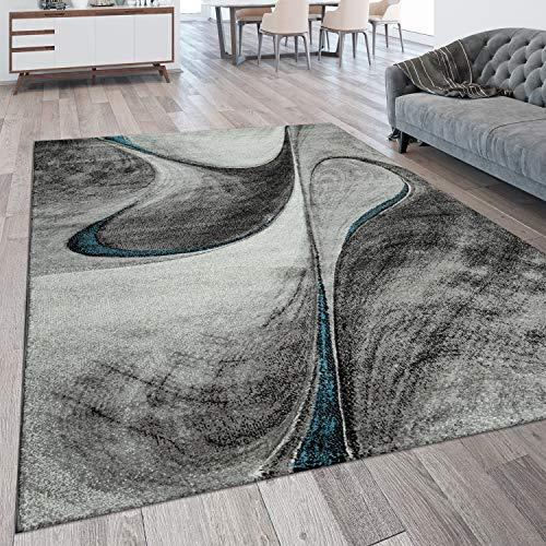 Alfombra De Salón Moderna Pelo Corto con Motivo 3D Abstracto Ondas, tamaño:200x290 cm, Color:Gris Azul