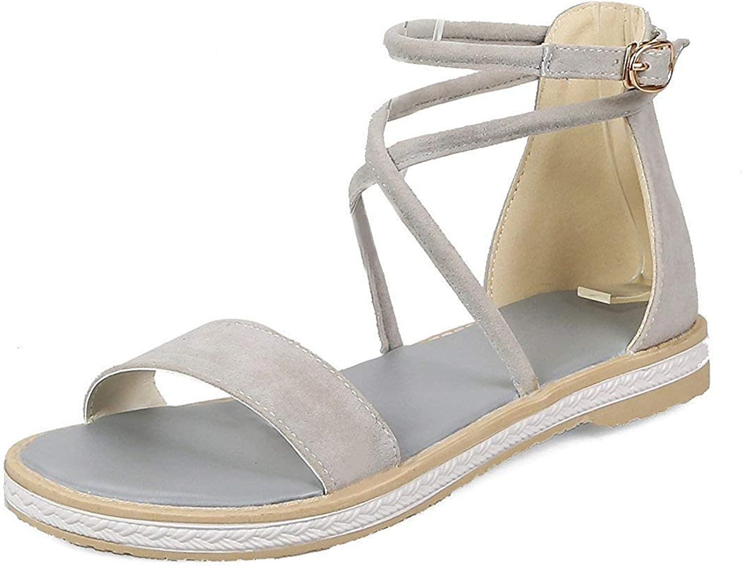 Unm Women's Strappy Flat Sandals with Ankle Strap - Open Toe Buckled - Comfort Casual