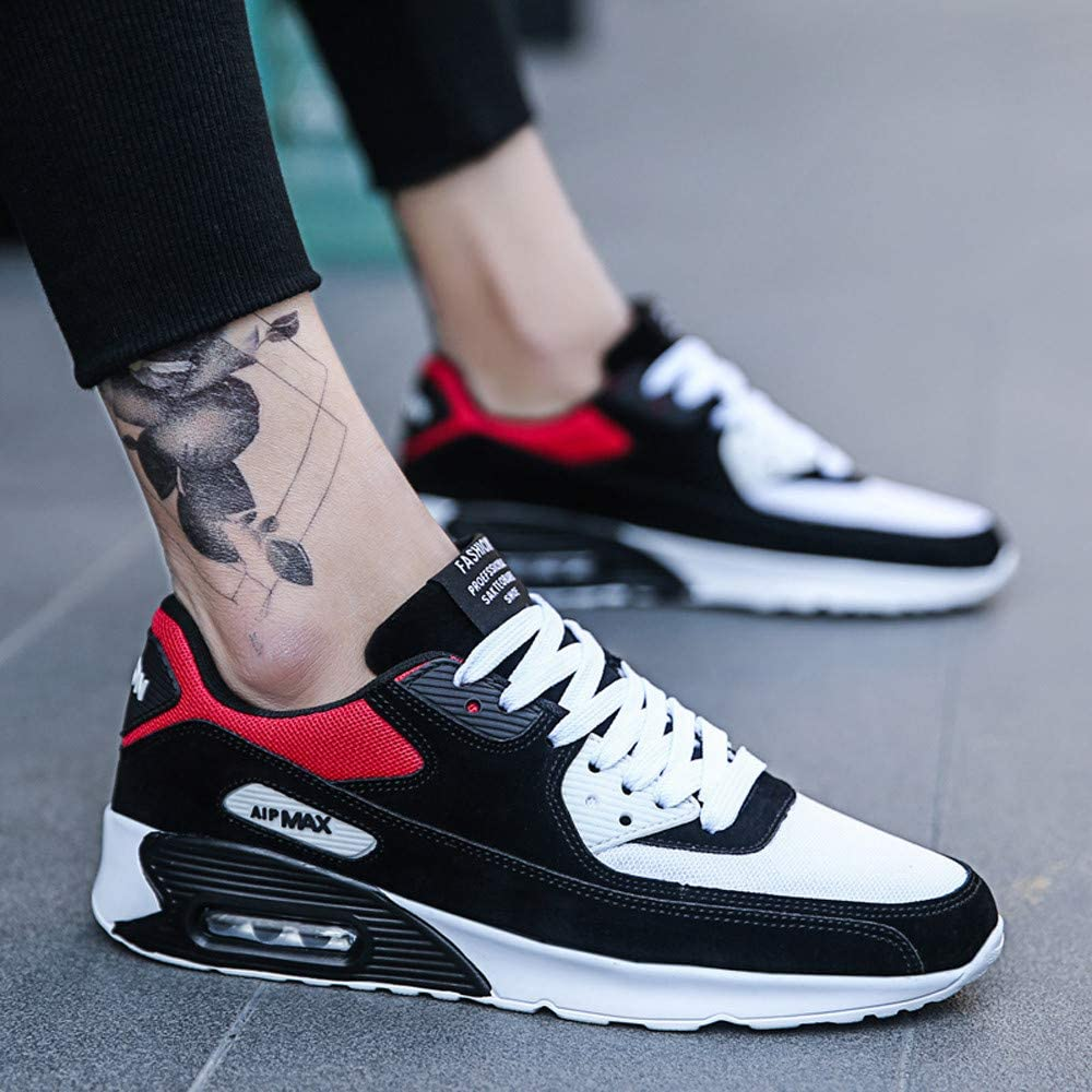 Nebwe 2019 Shoes Casual Mens Running Round-Toe Shoes Mesh Breathable Platform Lace-Up Sneakers