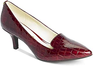 Anne Klein Womens Felice 3 Faux Leather Pointed Toe Pumps