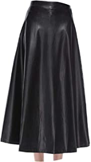 Autumn Winter High Waist Pleated Skirts Womens Elegant A-Line Black PU Leather Skirt Casual Punk Gothic Long Maxi Skirts S...