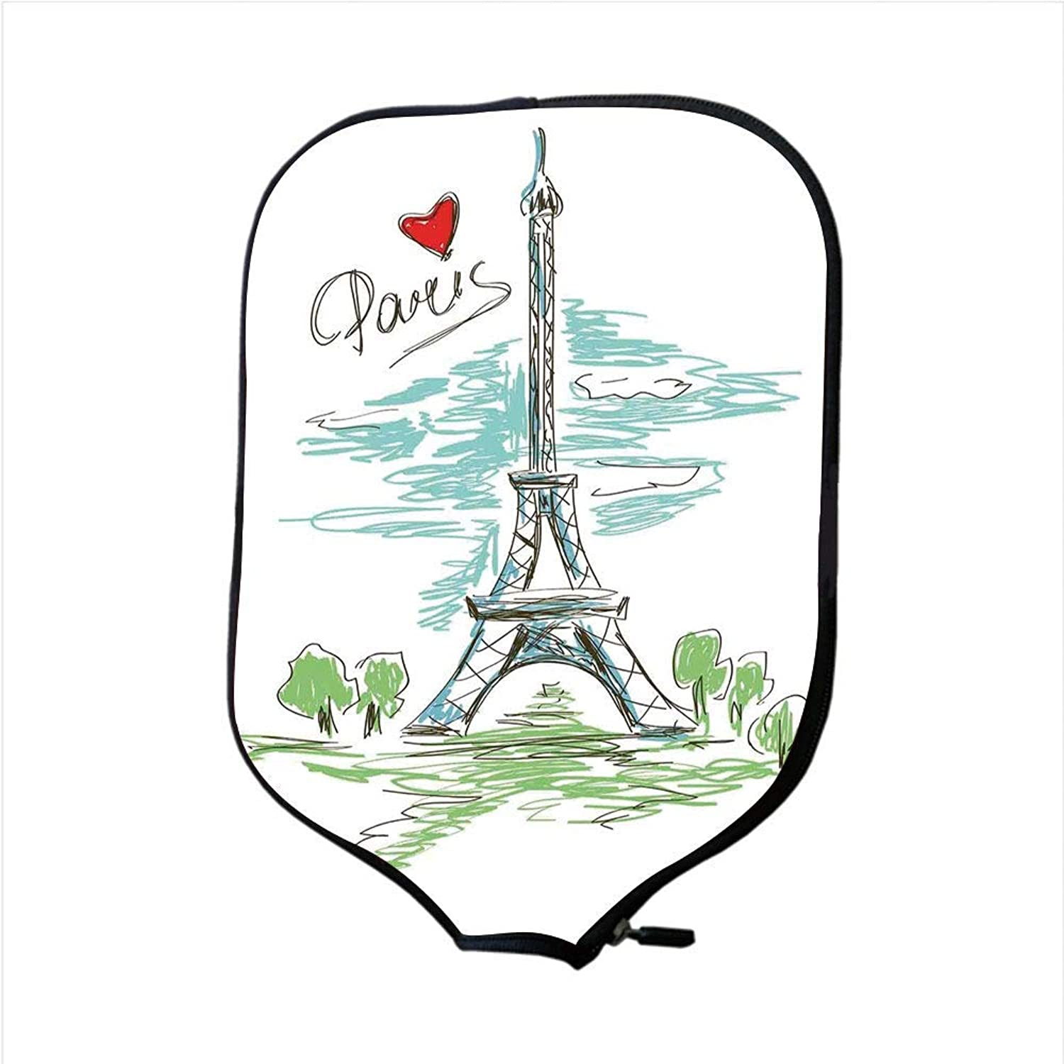 Fine Neoprene Pickleball Paddle Racket Cover Case,Paris,Touristic colorful Sketch of Eiffel Tower in Paris French Style Travel Illustration,Multicolor,Fit for Most Rackets