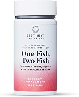 One Fish Two Fish Prenatal DHA, Ultra Pure Triglyceride Omega 3 Fish Oil Supplements, Support Baby's Brain and Eye Develop...
