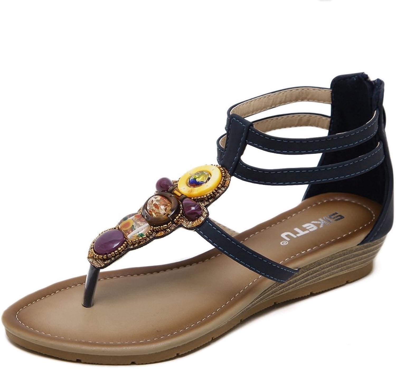 U-MAC Women's Elastic Strappy String Thong Ankle Strap Summer Gladiator Rhinestone Flats Sandals