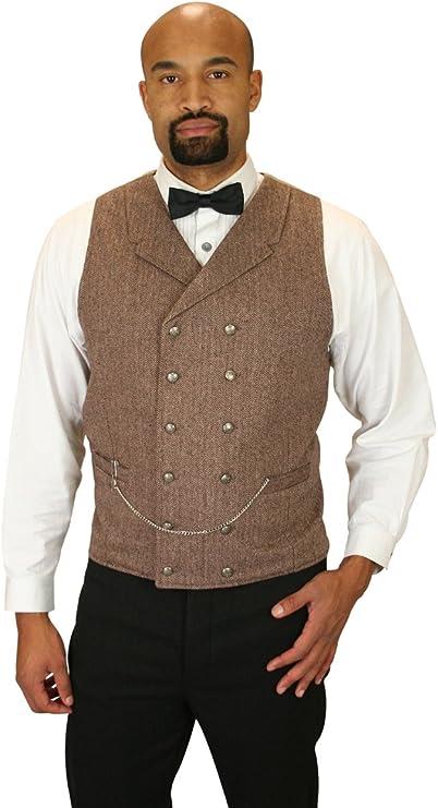 Edwardian Men's Fashion & Clothing 1900-1910s Historical Emporium Mens Double Breasted Herringbone Tweed Vest  AT vintagedancer.com