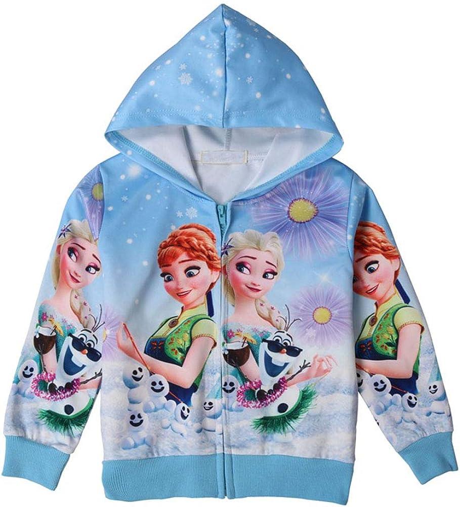 WNQY Sale shop item Toddler Zip Hoodie Little Girls Sweatshirt Ch Elsa Princess