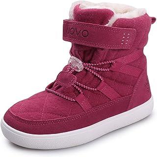 UOVO أحذية ثلج شتوية للأطفال الأولاد أحذية مقاومة للماء من الصوف المبطن بالفرو للتنزه، أحذية رياضية في الهواء الطلق للأولا...