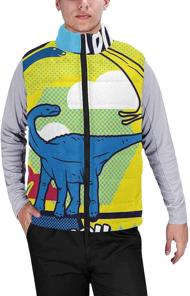 InterestPrint Men's Casual Sleeveless Coats with Personality Design Dinosaur Patterns