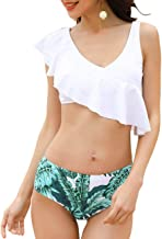 JOYMODE Women's 2 Pieces Swimsuits Ruffled Flounce Swimwear Bathing Suit