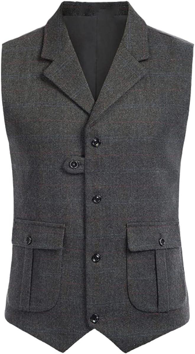 Men's fashion V-neck suit vest herringbone tailored collar vest wool tweed suit vest with flap pockets