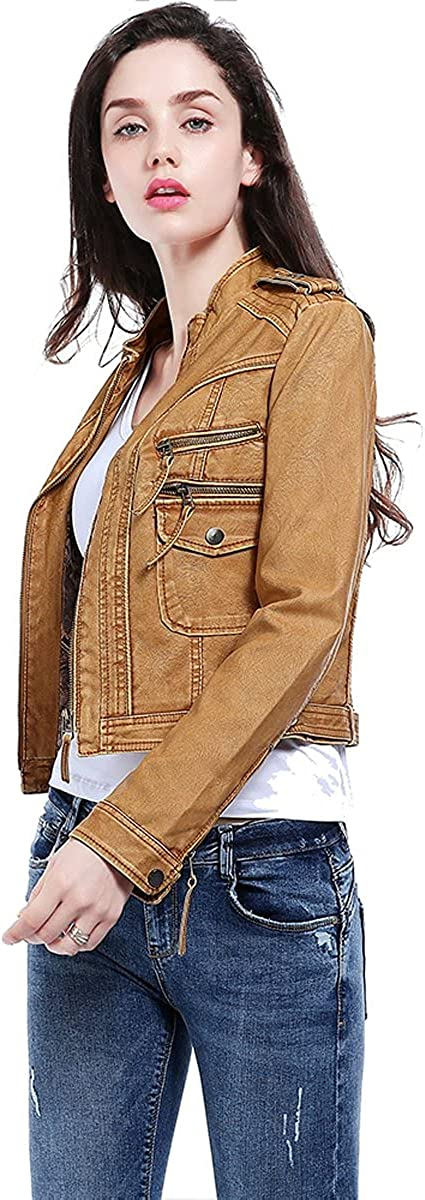 Women' s Short Style Simple Coat Faux Leather PU Stand Collar Motorcycle Zipper Jacket