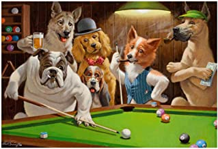 FUXUERUI Hd Picture Funny Dog Playing Billiards Snooker Art Oil Painting Art Print Posters Home Sitting Room Metope Adornm...