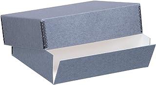 صندوق تخزين متحف أزرق ورمادي 43.18 سم × 55.88 سم مع غطاء قابل للإزالة وتصميم أمامي متدرج. أرشيفي بحافة معدنية. حماية طول ا...