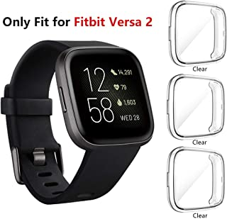 Seltureone (3 Pack) Screen Protector Case Compatible for Fitbit Versa 2, Full Body Cover..