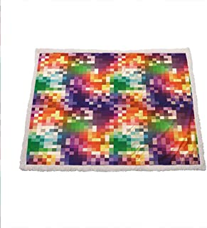 Colorful Soft Blanket Mosaic Rainbow Colored Checkered Squares Abstract Pixel Art Inspired Illustration Throw Blanket for Couch 50