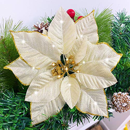 TURNMEON 24 Pack 5.5 Inch Christmas Glitter Poinsettia Artificial Silk Flowers Picks Christmas Tree Ornaments for Gold Christmas Tree Wreaths Garland Holiday Decoration (Gold)