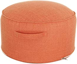 YUENA CARE Footrest Stool Round Footstool with Handle Tatami Cushion Stool for Bedroom Living Room Orange