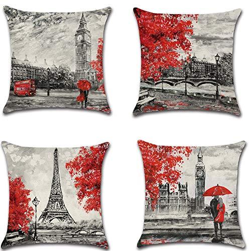 HZDHCLH 4er Set Kissenbezug kissenhülle 45 x 45 cm aus Baumwolle und Leinen Kissenbezüge für Sofa Gartenbett Outdoor Sofakissen Wohnzimmer (Stadt)