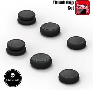 Skull & Co. Skin、CQC及びFPSゲームハンドルのロッカーアームキャップ(任天堂Switch Joy-Conハンドル用)-黒色、3組(6個入り)