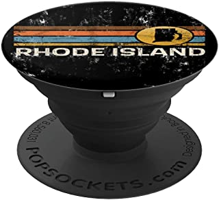 Graphic Tee Rhode Island US State Map Vintage Retro Stripes PopSockets Grip and Stand for Phones and Tablets