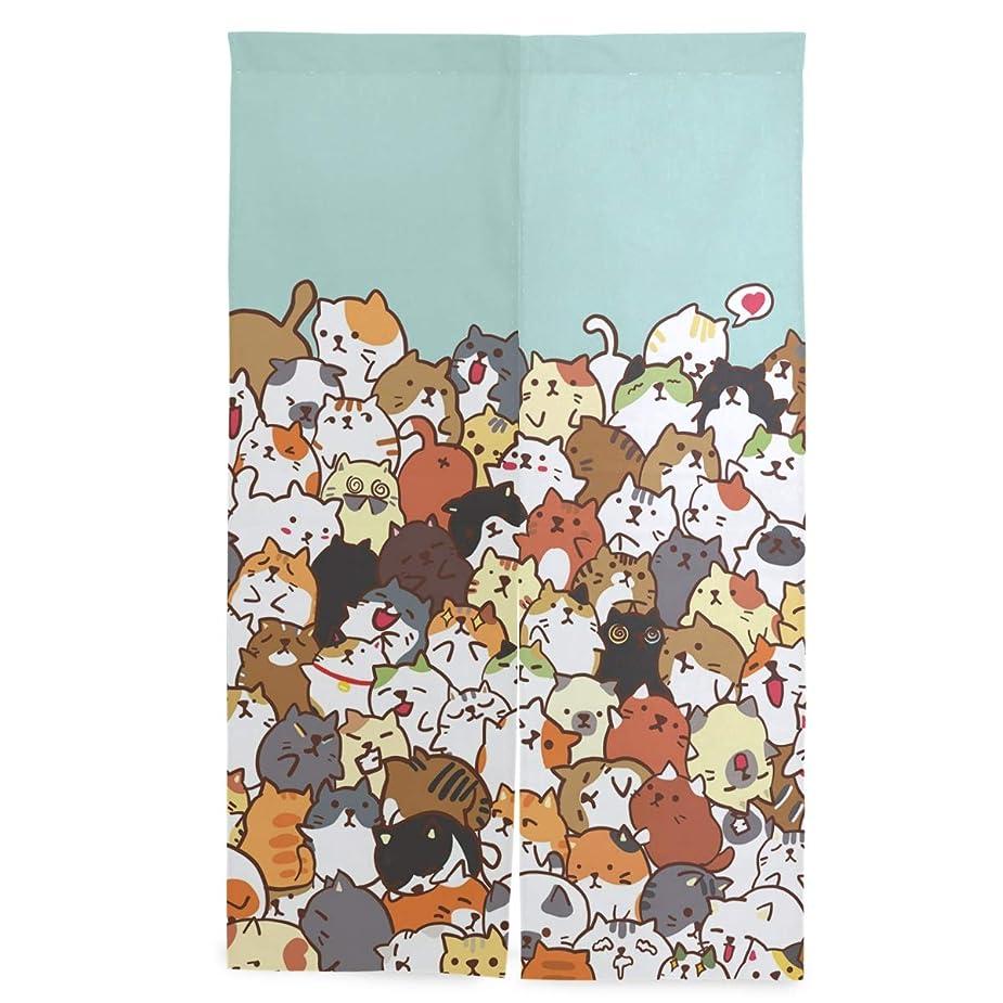 ブレーク机台風マキク(MAKIKU) のれん おしゃれ ロング 暖簾 猫柄 犬柄 洗濯可 突っ張り棒付き 幅86cm×丈143cm