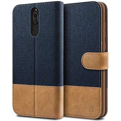 BEZ Hülle für Huawei Mate 10 Lite Hülle, Handyhülle Kompatibel für Huawei Mate 10 Lite, Handytasche Schutzhülle Tasche [Stoff & PU Leder] mit Kreditkartenhaltern, Blaue Marine