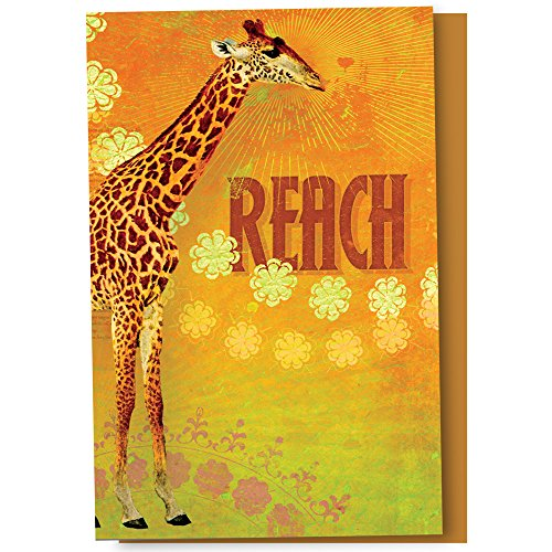 """Tree-Free Greetings Eco Notes 12 Count Notecard Set with Envelopes, 4"""" x 6"""", Reach Themed Giraffe Art (FS66551)"""