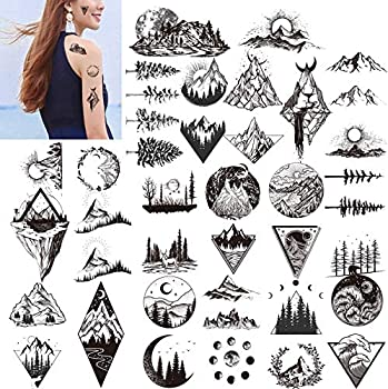 Konsait 20 sheets Black Temporary Tattoos for Adults Men Women Kids Triangle Mountain Moon Sun Tree Deer Birds Waterproof Body Art Fake Arm tattoo Sticker Hand Neck Wrist Fashion