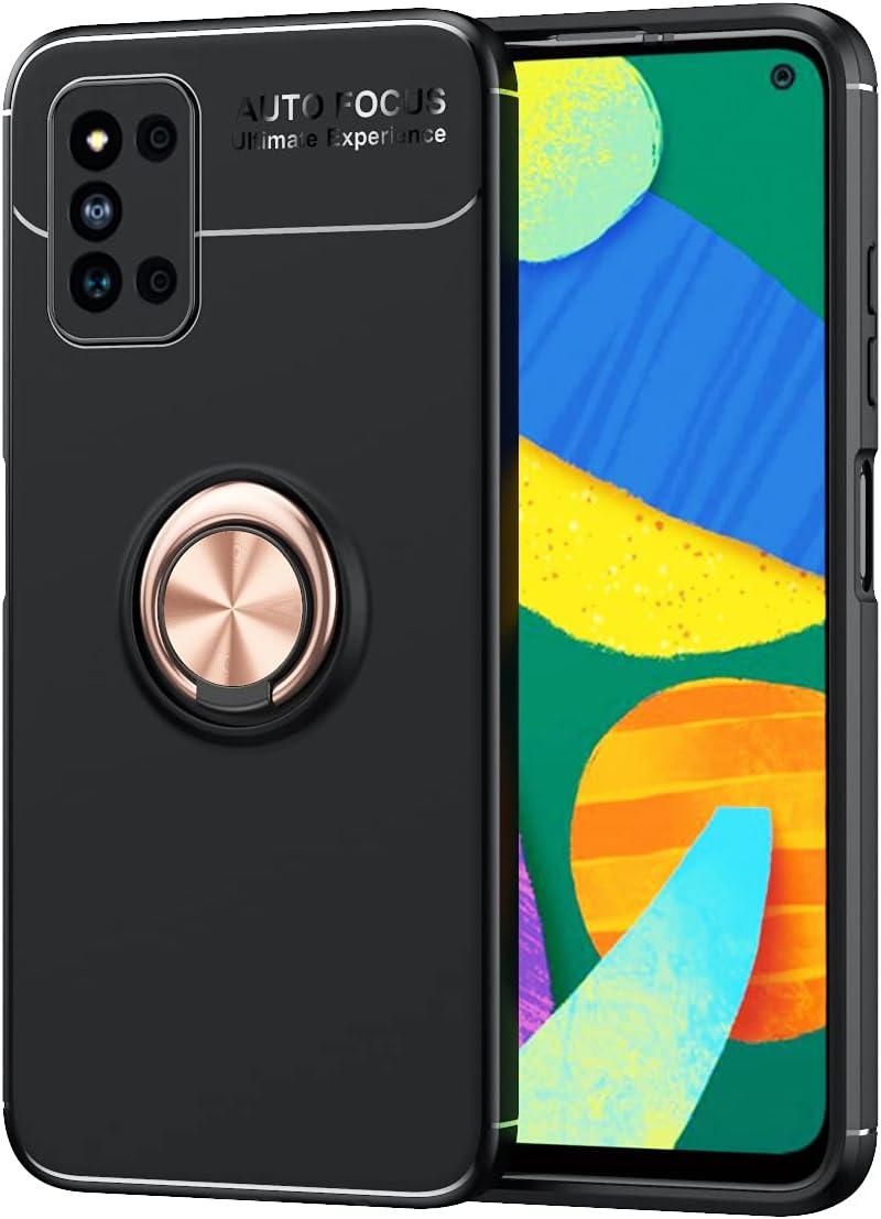 جراب OIATROE لهاتف Samsung Galaxy F52 5G، مصنوع من مادة البولي يوريثان الحراري 2 في 1 فائق النحافة [نحيف ومناسب] [مضاد للخدش] [ممتص للصدمات] [متين] - أسود وردي ذهبي