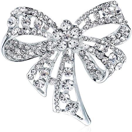 gotyou Diamond Broche Rhinestone Bow Boutonniere,Broche Vintage Bowknot Broche para Mujer,Broches Diadema Decorada,Ropa de Mujer Joyería de Moda,Joyas de Personalidad