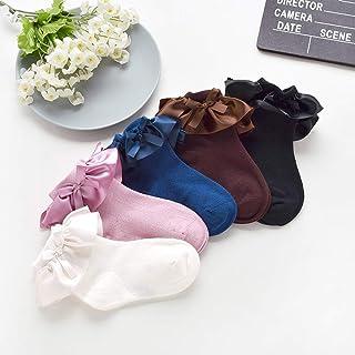 Calcetines de algodón suave para niña, calcetines de princesa con volantes de color liso, para recién nacidos, para el invierno, color rosa, morado L Azul marino. M