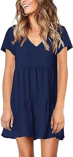 فستان تونيك نسائي بأكمام قصيرة ورقبة على شكل حرف V فضفاض ومتموج ومتموج من PinUp Angel