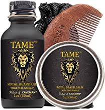 Beard Oil Conditioner 3-in-1 Set by Caveman - Tame and Strengthen with Beard oil and Moisturize with Beard Balm - Smooth and Finish with Beard comb