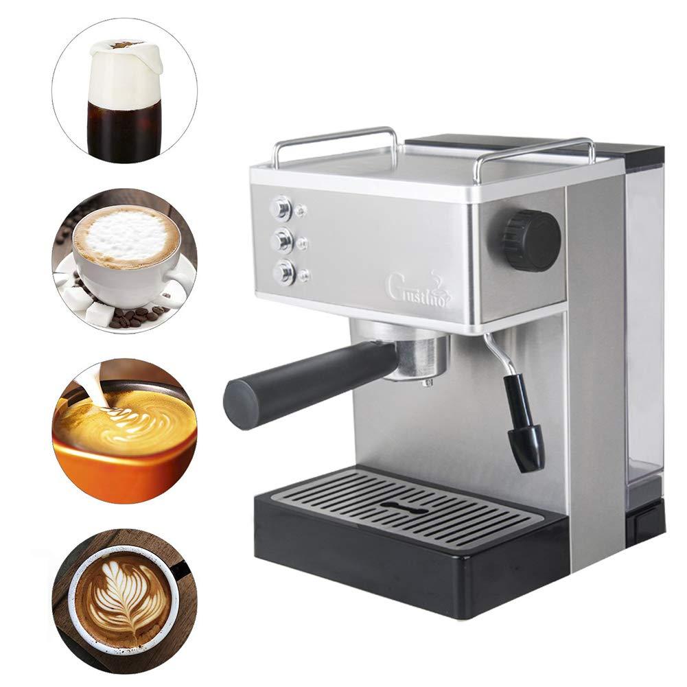 IDABAY Cafetera Express, Caldera de Acero Inoxidable Cafetera para Espresso, Capuccino y Latte Macchiato Vapor a Alta Presión, 1050W: Amazon.es: Hogar