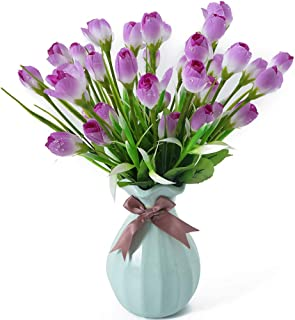 Beferr Water-Drop Tulip Flowers 4 Bunch Artificial Fake Silk Flower for Home Office Party Table Decor (Purple)