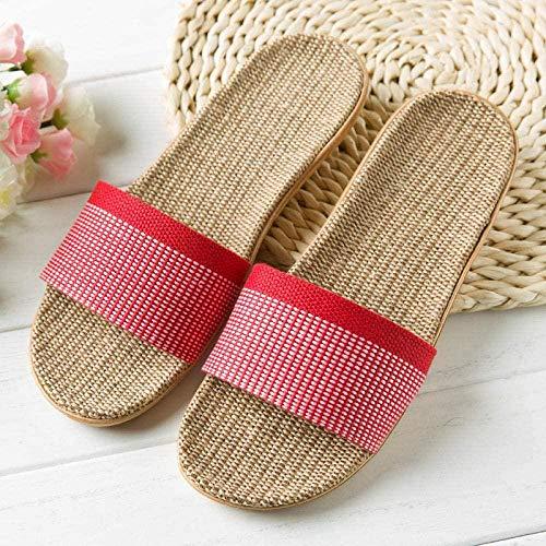 LLGG Sandalias de Piso Casuales Antideslizantes,Zapatillas de Lino de Deslizamiento, Zapatillas silenciosas secas-10_37-38,Zapatillas de Estilo para el hogar