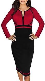 30c554dad55 Minetom Vestidos Para Mujer Empalme Cuello Redondo Cremallera Cuello Ropa  Fiesta Bodycon Vestido Cóctel