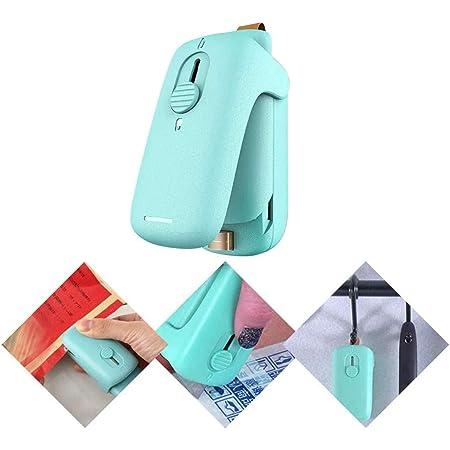 Mini sellador de bolsas, 2 en 1, sellador de calor de mano con cortador e imán de nevera para bolsas de plástico, almacenamiento de alimentos, aperitivos, frescos, selladores de bolsas (verde)