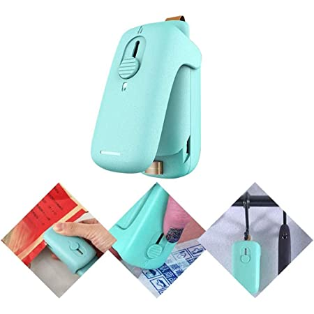 Mini sellador de bolsas, 2 en 1 sellador de calor con cortador e imán de refrigerador para bolsas de plástico, almacenamiento de alimentos, Snack Fresh Bag Sealer (verde)