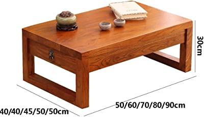 Solid Wood Bay Window Table Japanese Bay Window Table Simple Tatami Coffee Table Balcony Small Coffee Table and Platform Table Kang Table Low Table (Size : 80 * 50 * 30cm)