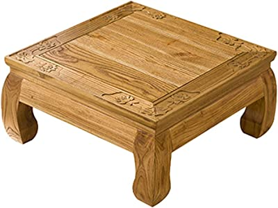 Coffee Tables Solid Wood Coffee Table Living Room Low Table Bedroom Bed Desk Balcony Bay Window Table Square Tatami Coffee Table (Color : Wood Color, Size : 70 * 70 * 30cm)