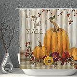 Lievevt Shower Curtains Kürbis Duschvorhang Ölgemälde Herbst Kürbisse & Blume Herbst Danksagung Dekor Stoff Polyester Badezimmer Gardinen mit Haken 70x70 Zoll (Color : 80x70 Inch)