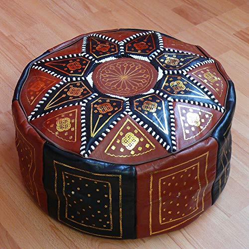 Marrakech Accessoires Orientales Cojines Cojines en el Suelo puf cojín de Cuero Taburete XXL Ø 70 cm - 905819-0002