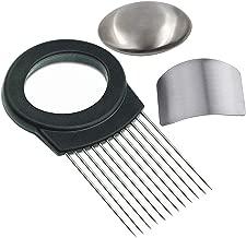 Onion Holder For Slicing / Vegetable Potato Cutter Slicer /FULL GRIP HANDLE / Odor Eliminator /Stainless Steel Cutting Kitchen Gadget / Onion Peeler (MAGIC SOAP Onion Holder with Slicer)