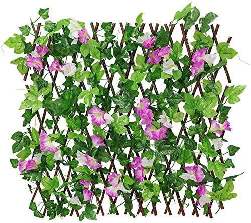 HXSD Pantalla de privacidad de Valla expandible, Panel de Valla de Hiedra Artificial, decoración única de balcón terraza de Fondo Exterior jardín,Púrpura,M