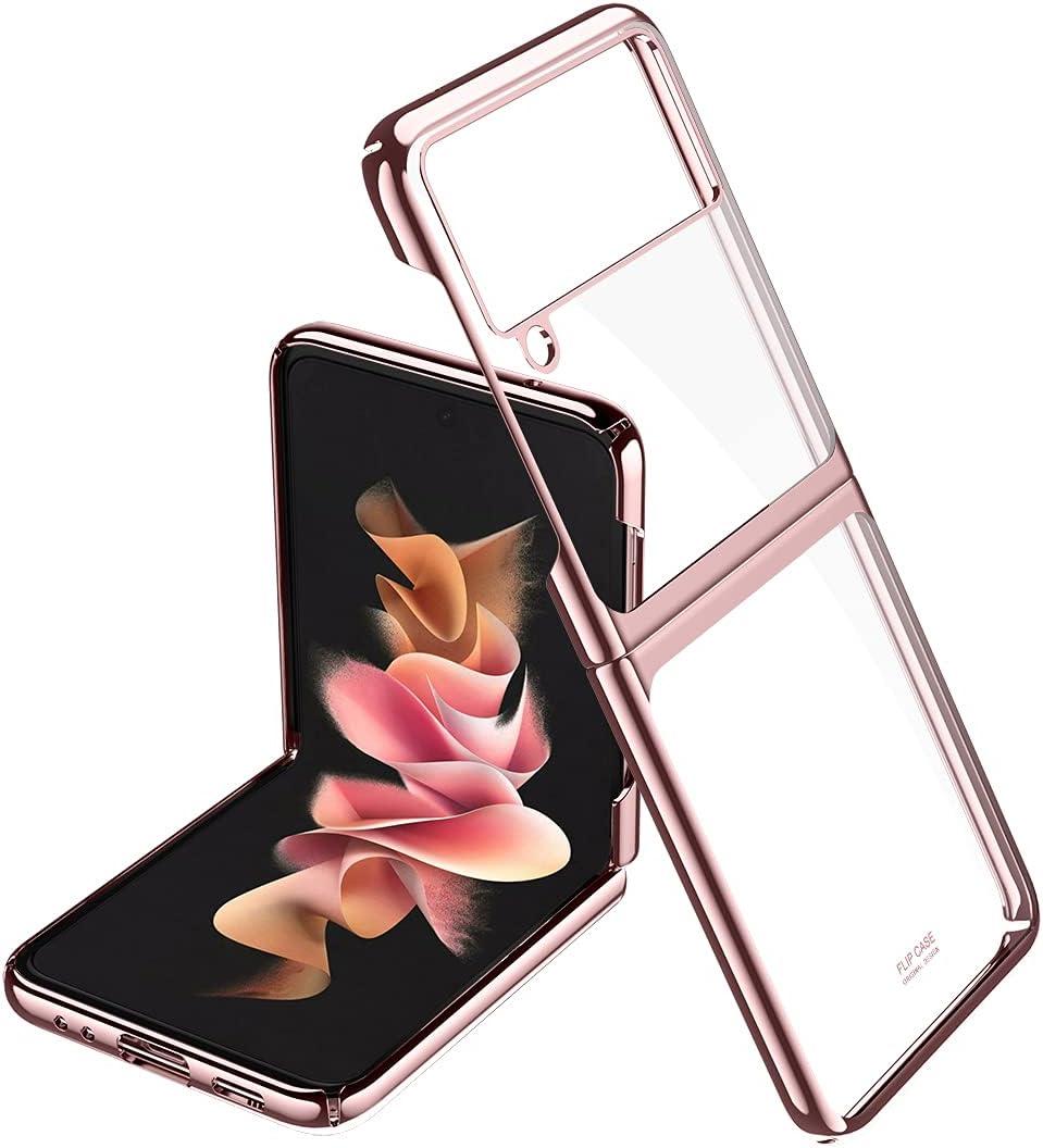 LANHUO668 for Samsung Galaxy Z Flip 3 5G Phone Case Ultra Thin Hard PC Shookproof Folding Designed for Samsung Galaxy Z Flip 3 (Rose Gold)