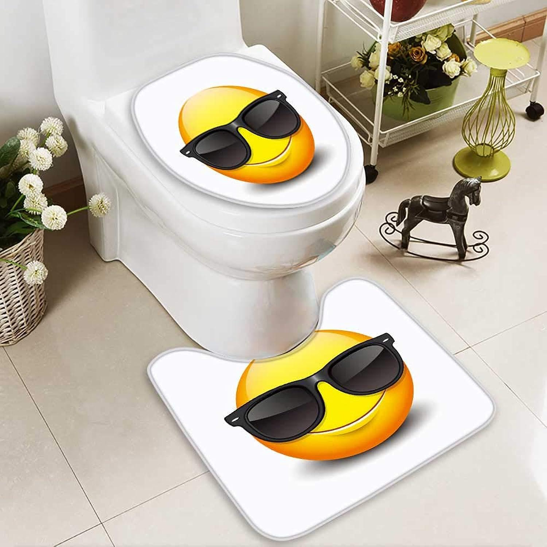 Analisahome 2 Piece Bathroom Contour Rugs Cute Smiling Emoticon Wearing Black Sunglasses Emoji Smiley Vector Illustration Non Slip Comfortable SND Soft